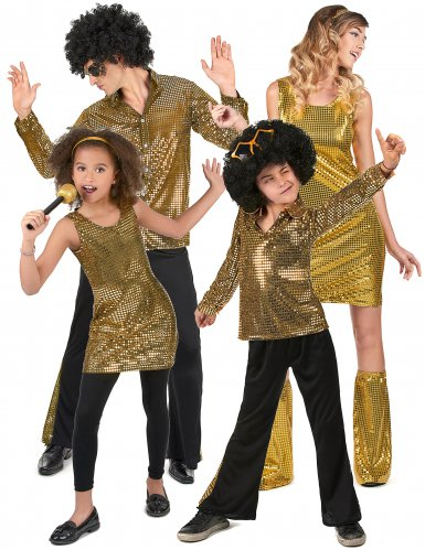 Familiekostume disco guldfarvet