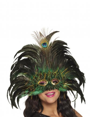 Venetisk maske med påfuglefjer - voksen