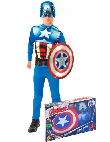 Klassisk Captain America™ kostume med skjold til drenge