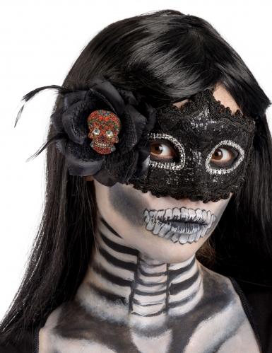 Sort Dia de los muertos maske til kvinder