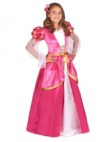 Lyserødt middelalder prinsessekostume til piger