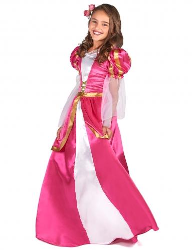 Lyserødt middelalder prinsessekostume til piger-1