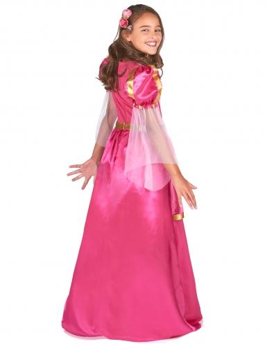 Lyserødt middelalder prinsessekostume til piger-2