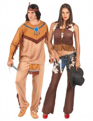 Par kostume indianer og cowgirl voksen