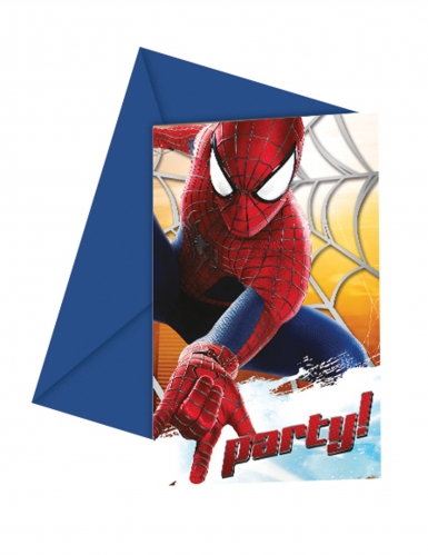 6 stk invitationer med The Amazing Spiderman™ 12x12.5 cm