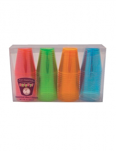 60 stk Multifarvet shotglas - 60 ml