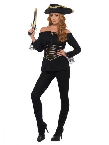 Luksus pirat skjorte sort til kvinder