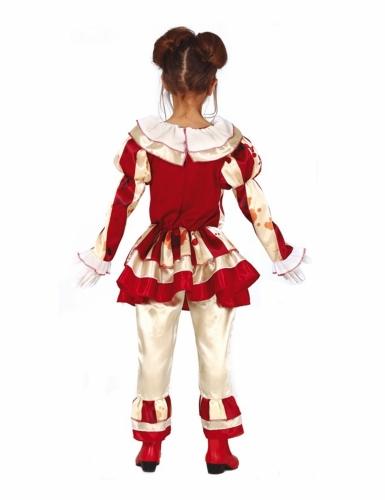 Skræmmende Klovn Kostume rød og hvid til piger-1