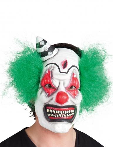 Latex maske skræmmende klovn med hår