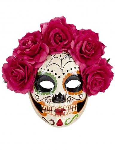 Dia de los Muertos maske med røde roser til voksne