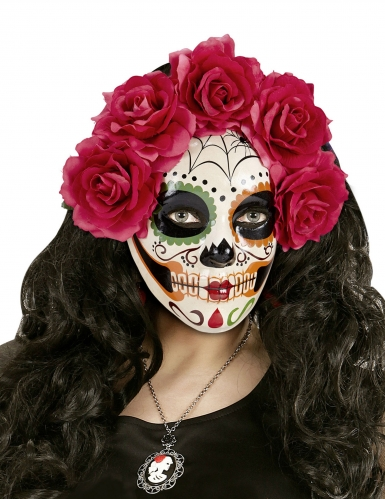 Dia de los Muertos maske med røde roser til voksne-1