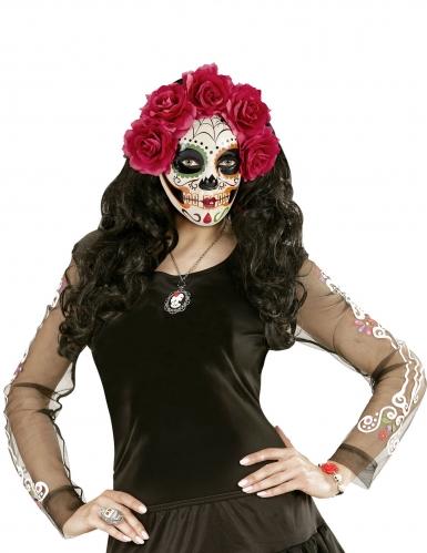 Dia de los Muertos maske med røde roser til voksne-2