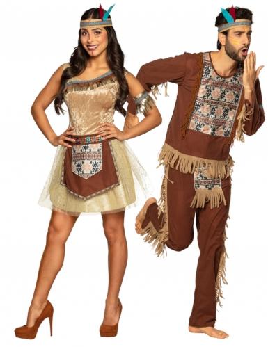 Par kostume indianer brun - voksen