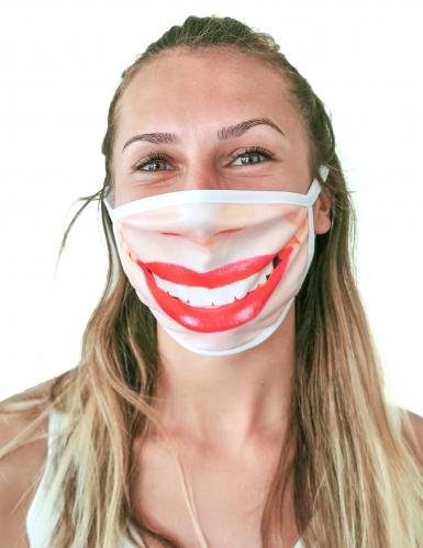 Ansigtsmaske med rød læbestift - voksen