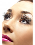 Lange sorte og sølvfarvede falske øjenvipper voksen