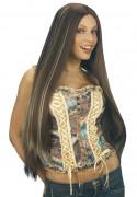 Langhåret Paryk med striber Kvinde