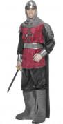Rød og sort middelalderridderkostume til mænd