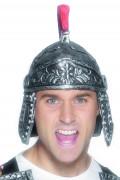 Rød og sølv romersk hjelm