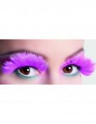 Falske øjenvipper med lyserøde fjer Voksne