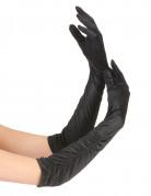 Lange sorte handsker med rynk kvinde