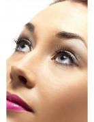 Korte sorte falske øjenvipper med sølvfarvede sten inde ved vipperødderne til voksne
