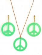 Grønne hippieøreringe og halskæde