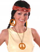 Orange hippieøreringe og halskæde