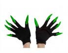Sorte handsker til voksne med fastlimede grønne glitrende negle