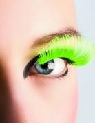 Lange neongrønne kunstige øjenvipper voksne