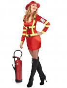 Sexet rødt brandmandskostume til kvinder