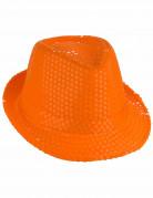 Orange hat med pailletter til voksne