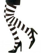 sort- og hvidstribede strømpebukser voksen