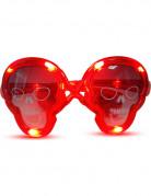 Lysende dødningehovedformede briller i rød