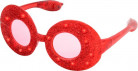 Røde ovale briller med glimmer