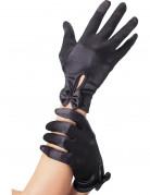 Handsker sorte korte med rosette kvinde