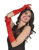 Røde lange satin handsker - kvinde