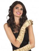Guld lange satin handsker - kvinde