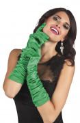 Grønne lange satin handsker - kvinde