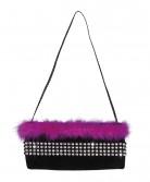 Sort og lyserød charleston taske - kvinde