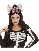 Diadem med dødningehoved og sløjfe Halloween voksen