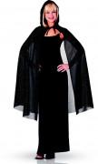 Glitrende sort kappe med hætte 115 cm Halloween