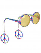 Briller flerfarvede hippie til voksne