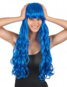 Paryk blå lang bølget med pandehår til kvinder