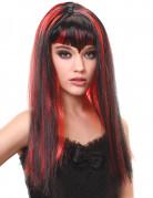 Lang sort og rød vampyrparyk med pandehår dame