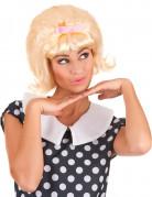 Blond 50er paryk med lyserød sløjfe til kvinder