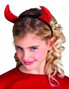 Røde paillet-djævlehorn barn halloween