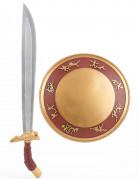 Guld gladiator-sæt med skjold og sværd i plast barn