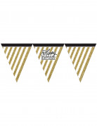 Guirlande med faner Happy Birthday sort og guld 3,7 m