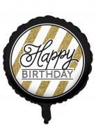 Ballon aluminium Happy Birthday sort og guld 46cm