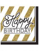 Servietter 16 stk Happy Birthday sort og guld